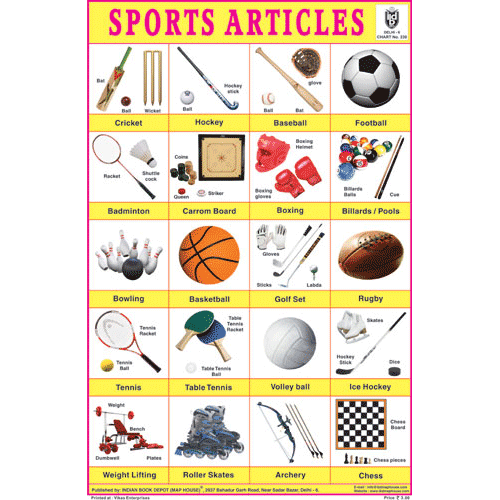 SPORTS ARTICLES CHART SIZE 12X18 (INCHS) 300GSM ARTCARD - Indian Book Depot (Map House)