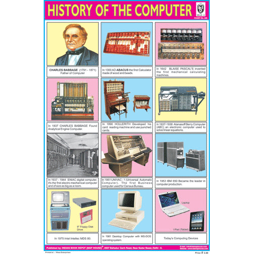 HISTORY OF THE COMPUTER SIZE 24 X 36 CMS CHART NO. 249 - Indian Book Depot (Map House)