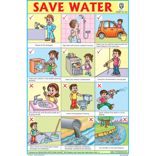 SAVE WATER CHART SIZE 12X18 (INCHS) 300GSM ARTCARD - Indian Book Depot (Map House)