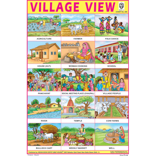 VILLAGE VIEW CHART SIZE 12X18 (INCHS) 300GSM ARTCARD - Indian Book Depot (Map House)