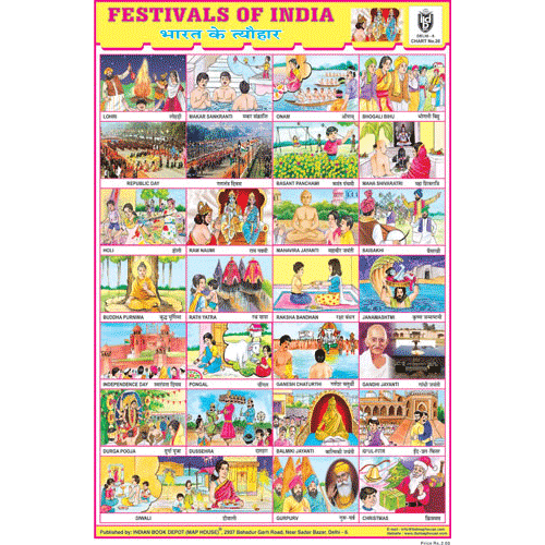 FESTIVALS OF INDIA (COMBINED) SIZE 24 X 36 CMS CHART NO. 26 - Indian Book Depot (Map House)