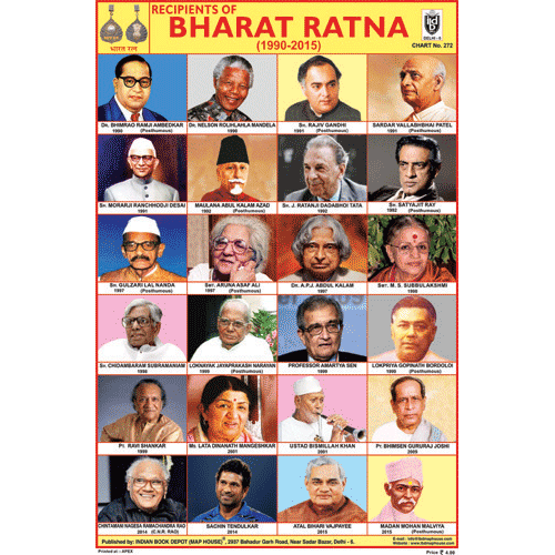RECIPIENTS OF BHARAT RATNA (1990 2015) SIZE 24 X 36 CMS CHART NO. 272 - Indian Book Depot (Map House)