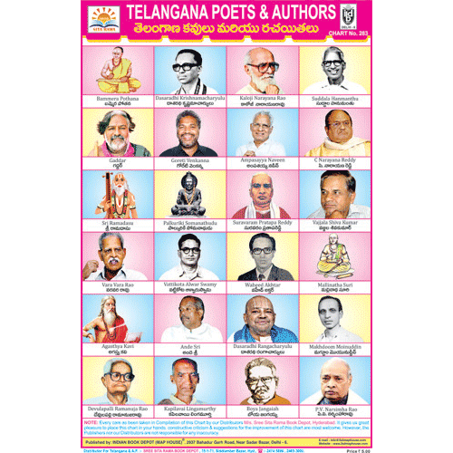 TELANGANA POETS AND AUTHORS CHART SIZE 12X18 (INCHS) 300GSM ARTCARD - Indian Book Depot (Map House)