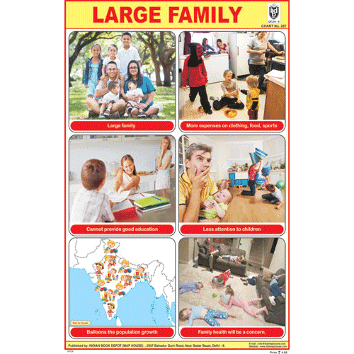 LARGE FAMILY SIZE 24 X 36 CMS CHART NO. 287 - Indian Book Depot (Map House)