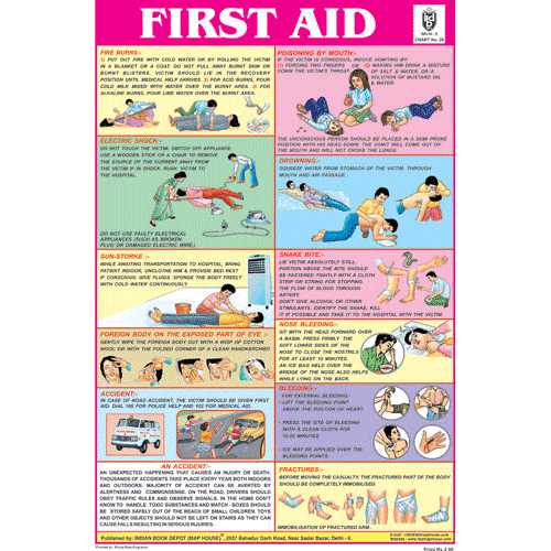 FIRST AID CHART IN ENGLISH CHART SIZE 12X18 (INCHS) 300GSM ARTCARD - Indian Book Depot (Map House)