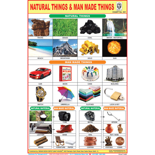 NATURAL THINGS & MAN MADE THINGS SIZE 24 X 36 CMS CHART NO. 301 - Indian Book Depot (Map House)