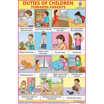 DUTIES OF CHILDREN ( TOWARDS PARENTS) CHART SIZE 12X18 (INCHS) 300GSM ARTCARD - Indian Book Depot (Map House)