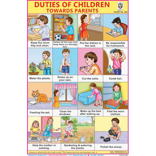 DUTIES OF CHILDREN ( TOWARDS PARENTS) SIZE 24 X 36 CMS CHART NO. 309 - Indian Book Depot (Map House)