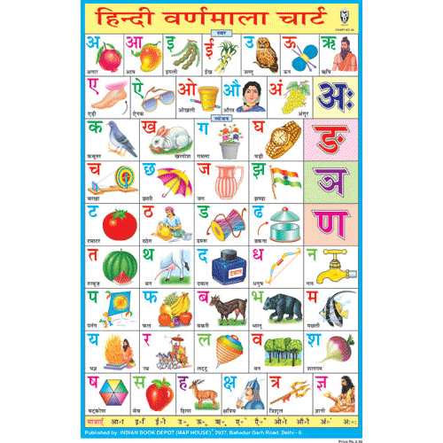 HINDI ALPHABETICAL CHART SIZE 12X18 (INCHS) 300GSM ARTCARD - Indian Book Depot (Map House)