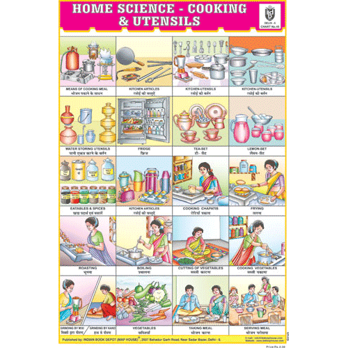 HOME SCIENCE:COOKING & UTENSILS CHART SIZE 12X18 (INCHS) 300GSM ARTCARD - Indian Book Depot (Map House)
