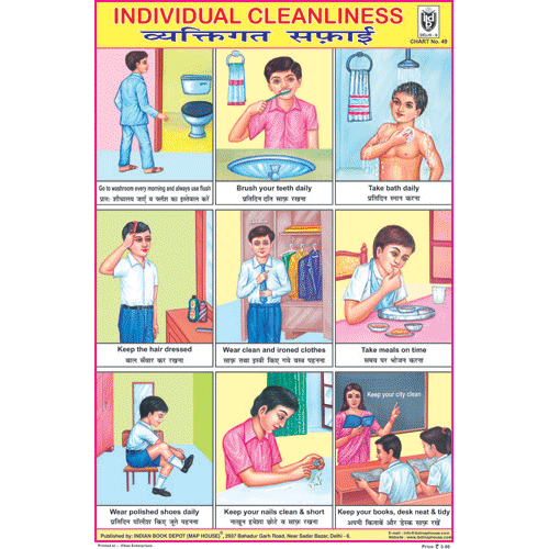 INDIVIDUAL CLEANLINESS SIZE 24 X 36 CMS CHART NO. 49 - Indian Book Depot (Map House)