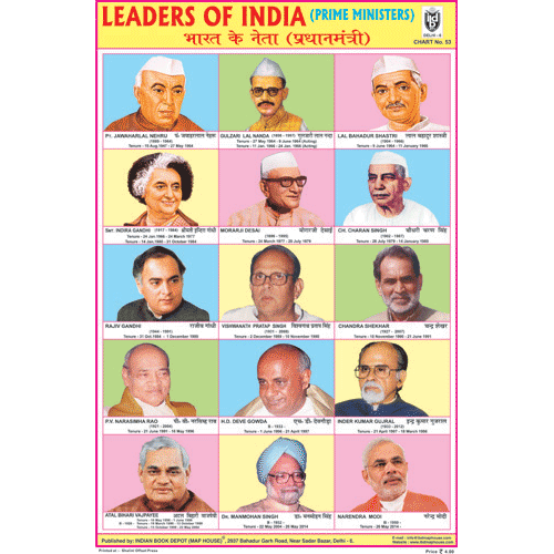 LEADERS OF INDIA (PRIME MINISTERS) SIZE 24 X 36 CMS CHART NO. 53 - Indian Book Depot (Map House)