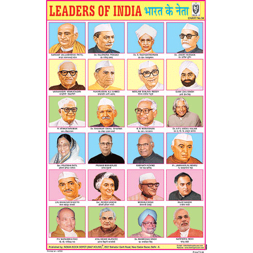 LEADERS OF INDIA (24 PHOTOS) CHART SIZE 12X18 (INCHS) 300GSM ARTCARD - Indian Book Depot (Map House)