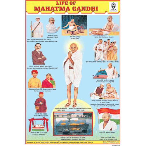 LIFE OF MAHATMA GANDHI SIZE 24 X 36 CMS CHART NO. 57 - Indian Book Depot (Map House)