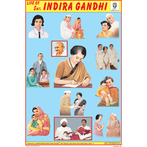 LIFE OF SMT.INDIRA GANDHI CHART SIZE 12X18 (INCHS) 300GSM ARTCARD - Indian Book Depot (Map House)