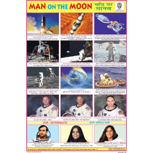 MAN ON THE MOON CHART SIZE 12X18 (INCHS) 300GSM ARTCARD - Indian Book Depot (Map House)