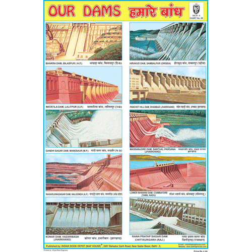 OUR DAMS SIZE 24 X 36 CMS CHART NO. 69 - Indian Book Depot (Map House)