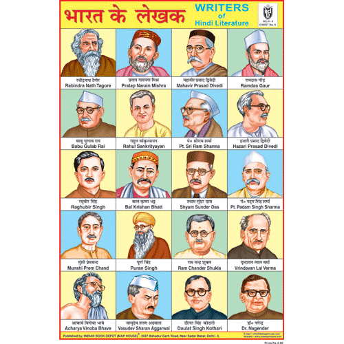 AUTHOR'S OF INDIA CHART SIZE 12X18 (INCHS) 300GSM ARTCARD - Indian Book Depot (Map House)