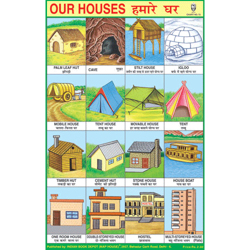 OUR HOUSES (DIFFERENT TYPE OF HOUSES) SIZE 24 X 36 CMS CHART NO. 72 - Indian Book Depot (Map House)