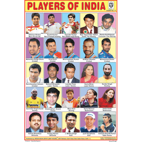 PLAYERS OF INDIA CHART SIZE 12X18 (INCHS) 300GSM ARTCARD - Indian Book Depot (Map House)