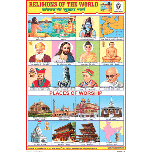 RELIGIONS OF THE WORLD SIZE 24 X 36 CMS CHART NO. 81 - Indian Book Depot (Map House)