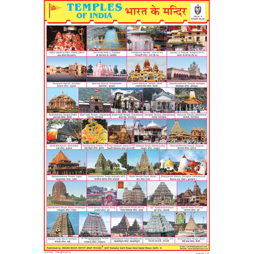 TEMPLE OF INDIA SIZE 24 X 36 CMS CHART NO. 93 - Indian Book Depot (Map House)