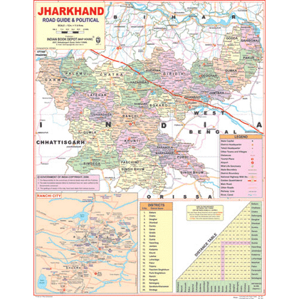JHARKHAND (ENGLISH) SIZE 45 X 57 CMS - Indian Book Depot (Map House)