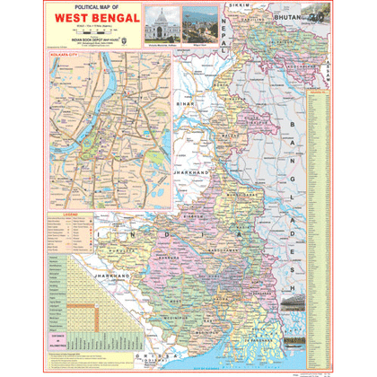 WEST BENGAL ( ENGLISH) SIZE 45 X 57 CMS - Indian Book Depot (Map House)