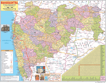 MAHARASHTRA (ENGLISH) SIZE 45 X 57 CMS - Indian Book Depot (Map House)