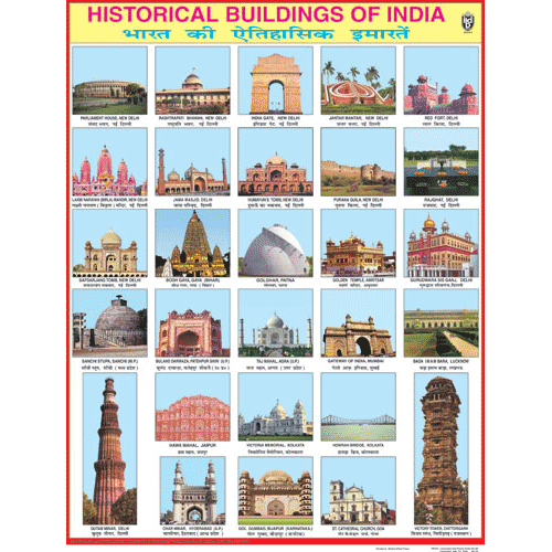 HISTORICAL BUILDINGS OF INDIA CHART SIZE 45 X 57 CMS - Indian Book Depot (Map House)