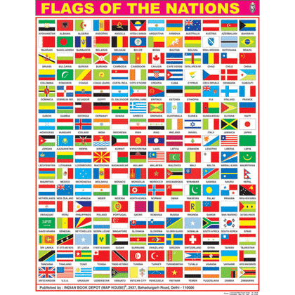 FLAGS OF THE NATIONS CHART SIZE 45 X 57 CMS - Indian Book Depot (Map House)