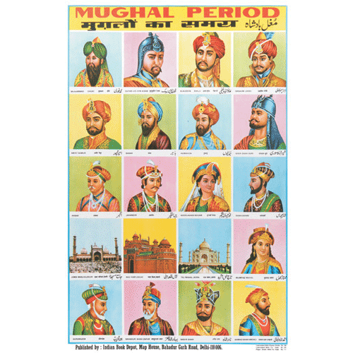 MUGHAL PERIOD CHART SIZE 50 X 75 CMS - Indian Book Depot (Map House)