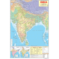 INDIA PHYSICAL (ENGLISH) SIZE 50 X 75 CMS - Indian Book Depot (Map House)