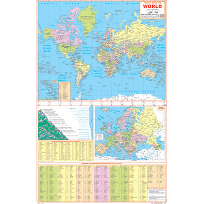 THE WORLD POLITICAL (ENGLISH) SIZE 50 X 75 CMS - Indian Book Depot (Map House)