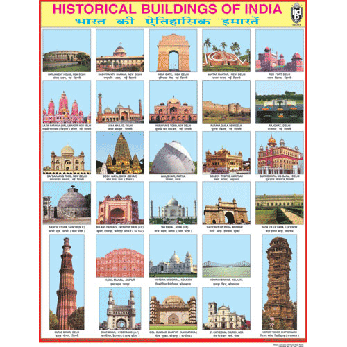 HISTORICAL BUILDINGS OF INDIA CHART SIZE 55 X 70 CMS - Indian Book Depot (Map House)