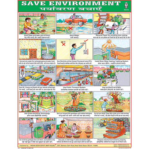 SAVE ENVIRONMNET CHART SIZE 55 X 70 CMS - Indian Book Depot (Map House)