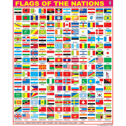 FLAGS OF THE NATIONS CHART SIZE 55 X 70 CMS - Indian Book Depot (Map House)