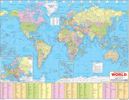 WORLD POLITICAL (ENGLISH) SIZE 55 X 70 CMS - Indian Book Depot (Map House)