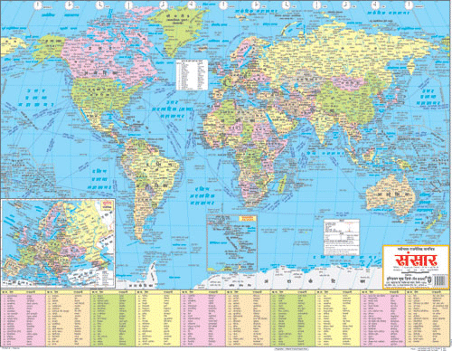 WORLD POLITICAL (HINDI) SIZE 55 X 70 CMS - Indian Book Depot (Map House)