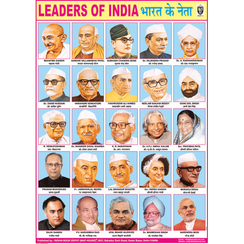 LEADERS OF INDIA CHART SIZE 70 X 100 CMS - Indian Book Depot (Map House)