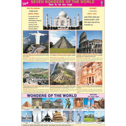 NEW SEVEN WONDERS OF THE WORLD CHART SIZE 70 X 100 CMS - Indian Book Depot (Map House)