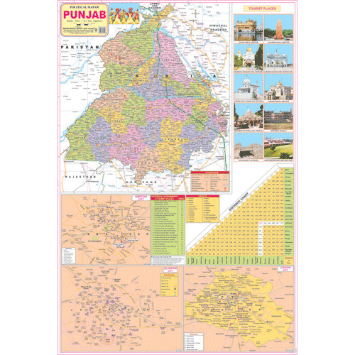 PUNJAB (ENGLISH) SIZE 70 X 100 CMS - Indian Book Depot (Map House)