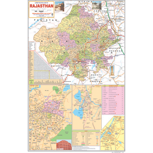 RAJASTHAN POLITICAL (ENGLISH) SIZE 70 X 100 CMS - Indian Book Depot (Map House)