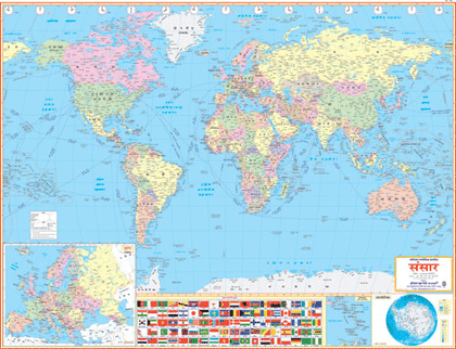 WORLD POLITICAL (HINDI) SIZE 100 X 140 CMS - Indian Book Depot (Map House)