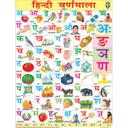HINDI ALPHABETJUMBO CHART SIZE 100 X 140 CMS - Indian Book Depot (Map House)