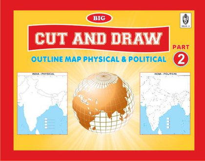 Cut and Draw outline map practice book BIG size (contains assorted 100 maps) India|world|continents|political and physical maps