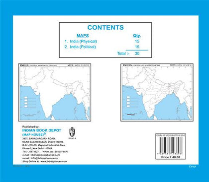 Book of Outline maps INDIA, 15 political maps|15 physical maps|small size