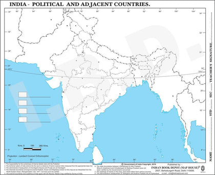 Big size | Practice map of India political |Pack of 100 Maps| Outline Maps - Indian Book Depot (Map House)