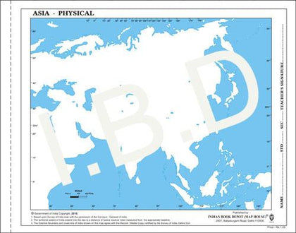 Big size | Practice Map of Asia Physical |Pack of 100 Maps| Outline Maps - Indian Book Depot (Map House)