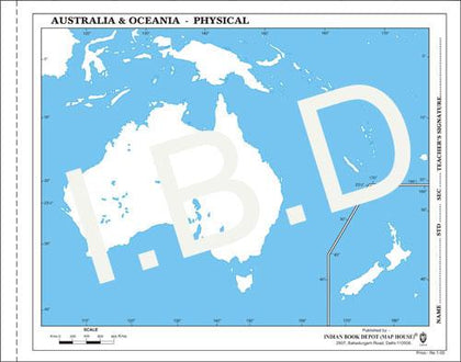 Big size | Practice Map of Australia Physical |Pack of 100 Maps| Outline Maps - Indian Book Depot (Map House)